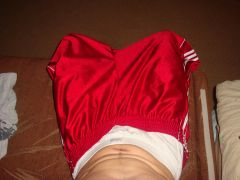 sagging in my bball red shorts by Adidas